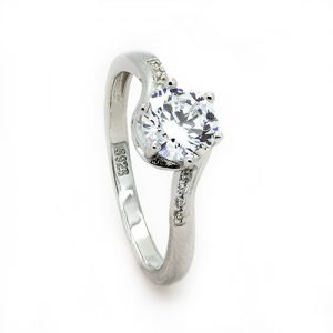 A Sparkly Stylish Sterling Silver Engagement Ring