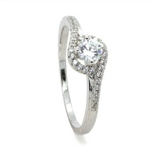 A Stylish Dainty Halo Zircon Sterling Silver Engagement Ring