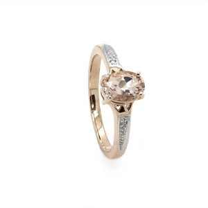 Classic Oval Morganite and Diamond Engagement Ring
