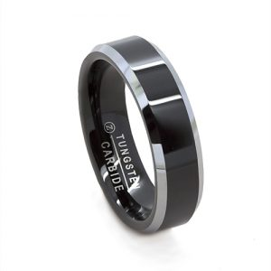 Flat Black Gloss Silver Bevel Edge Wedding Ring in Tungsten Carbide (6 millimeters)