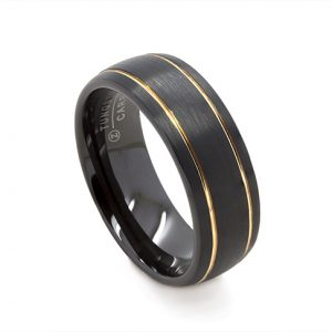 Brushed Black Dome With Gold Trim Wedding Ring in Tungsten Carbide (8 millimeters)