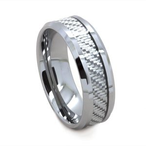Silver Chequered Carbon Fiber Wedding Ring in Tungsten Carbide (8 millimeters)