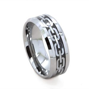 Link Carbon Fibre Inlay Wedding Ring in Tungsten Carbide (8 millimeters)