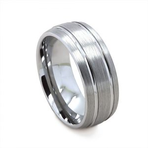 Brushed Grey With Fine Polish Groved Wedding Ring in Tungsten Carbide (8 millimeter)