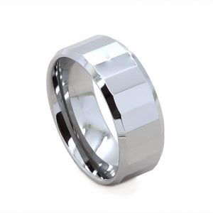 Faceted Silver Finish Wedding Ring In Tungsten Carbide (8 millimeters)