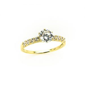 Crown Gold Engagement Ring