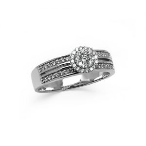 A Halo Stunning Diamond White Gold Ring
