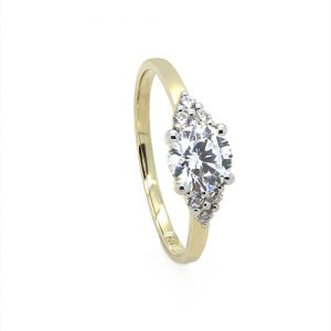 The Round Solitaire Zircon Yellow Gold Engagement Ring