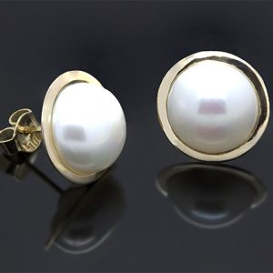 A Stunning Pair of 13mm Mabe Pearl Earrings