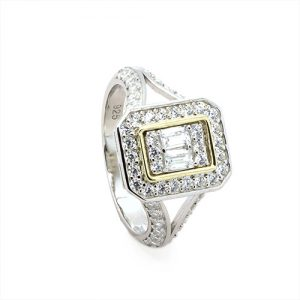 Baguette Gold and Silver Zircon Engagement Ring