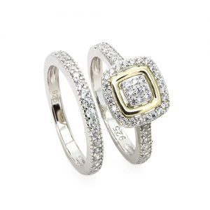 A Stunning Gold and Silver Bridal Rings Set