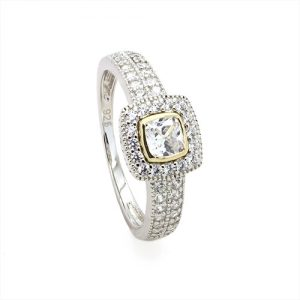The Cushion Zircon Gold and Silver Engagement Ring