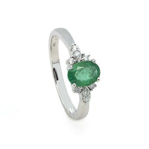 Exclusive Emerald and Diamond Engagement Ring