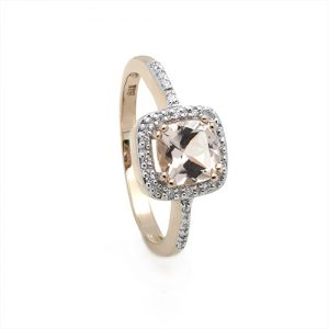 Exclusive Morganite and Diamond Halo Engagement Ring