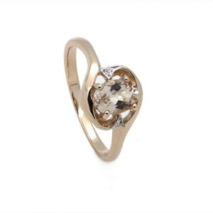 The Oval Clasp Morganite Diamond Engagement Ring