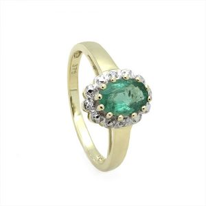 A Classic Emerald Halo Diamond Engagement Ring