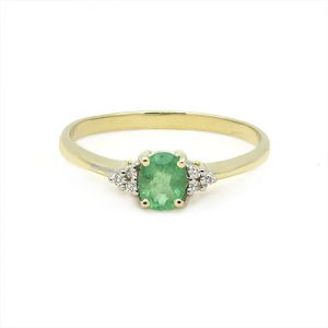 Dainty Emerald Engagement Ring