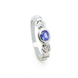 An Alluring Tanzanite Ring In 14Ct White Gold